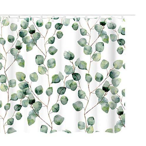 Litthing Duschvorhang Grüne Pflanzen