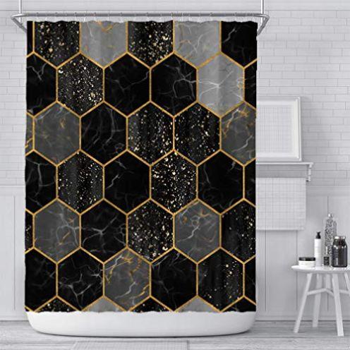 Xiongfeng Duschvorhang Design Marmor Schwarz